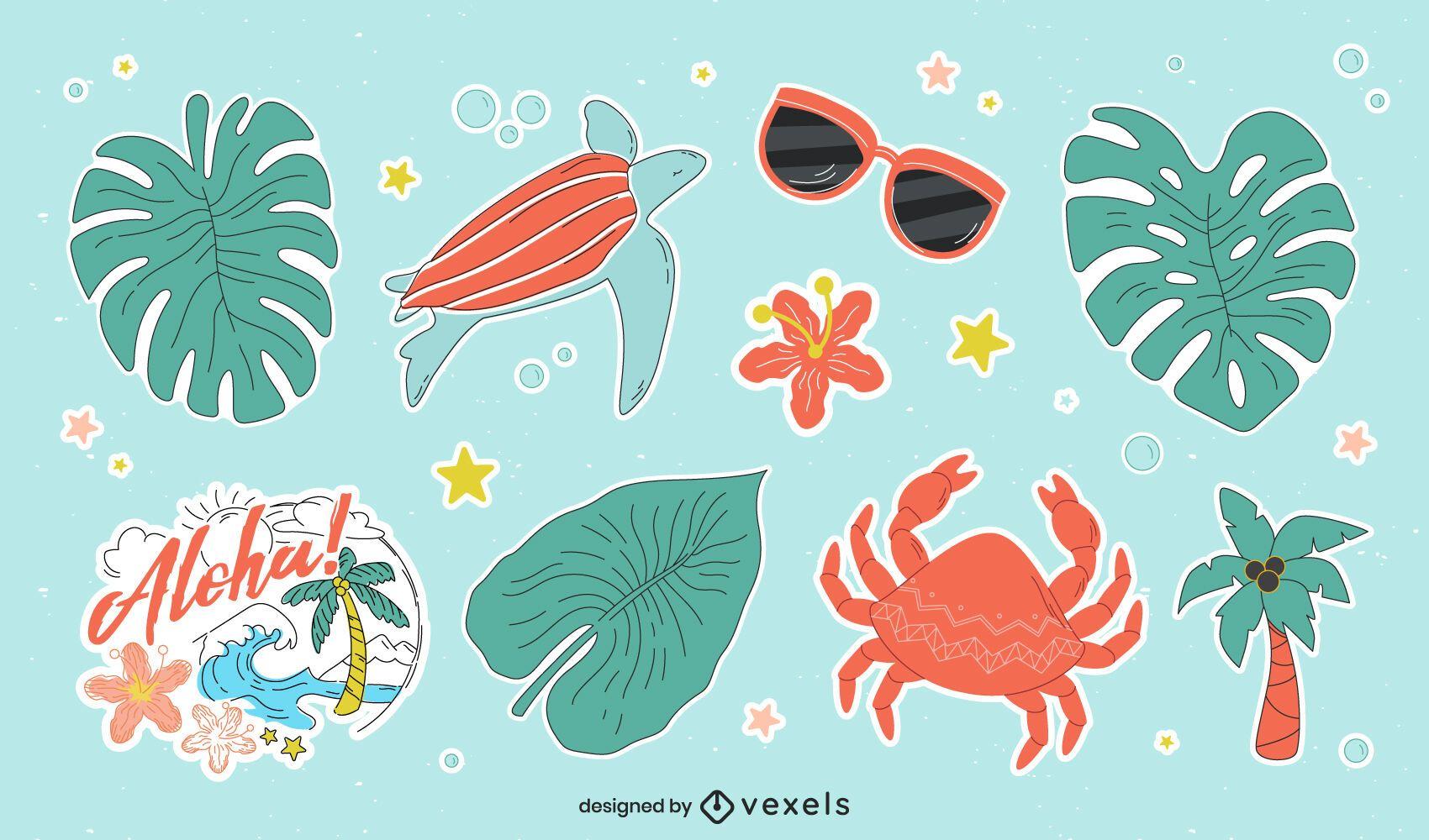 Hawaii sticker set