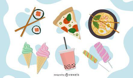 Conjunto de design de alimentos planos