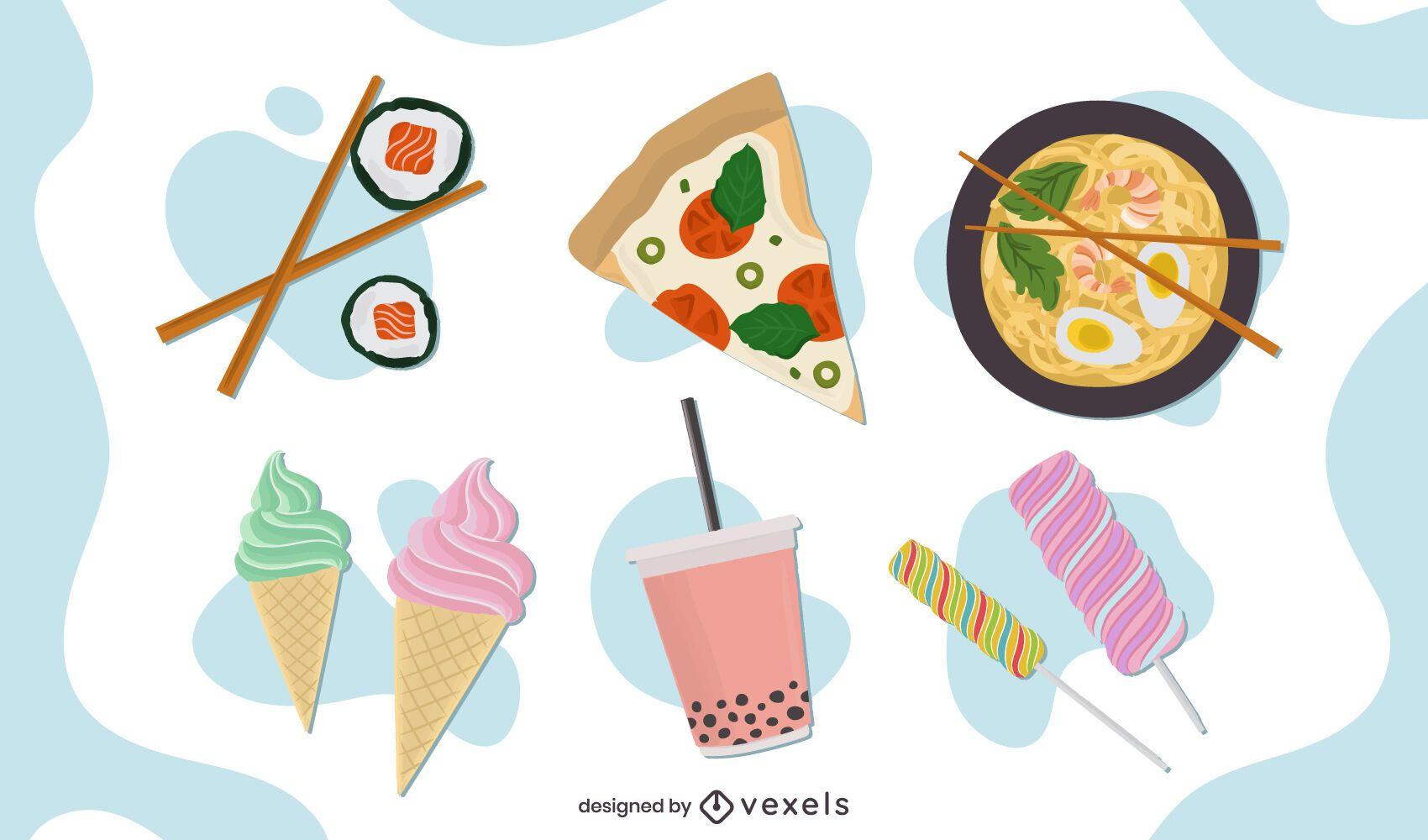 Flat food design set