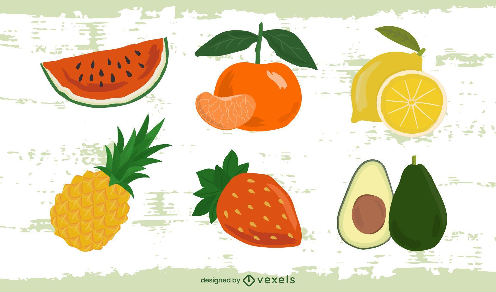 Summer fruits design set