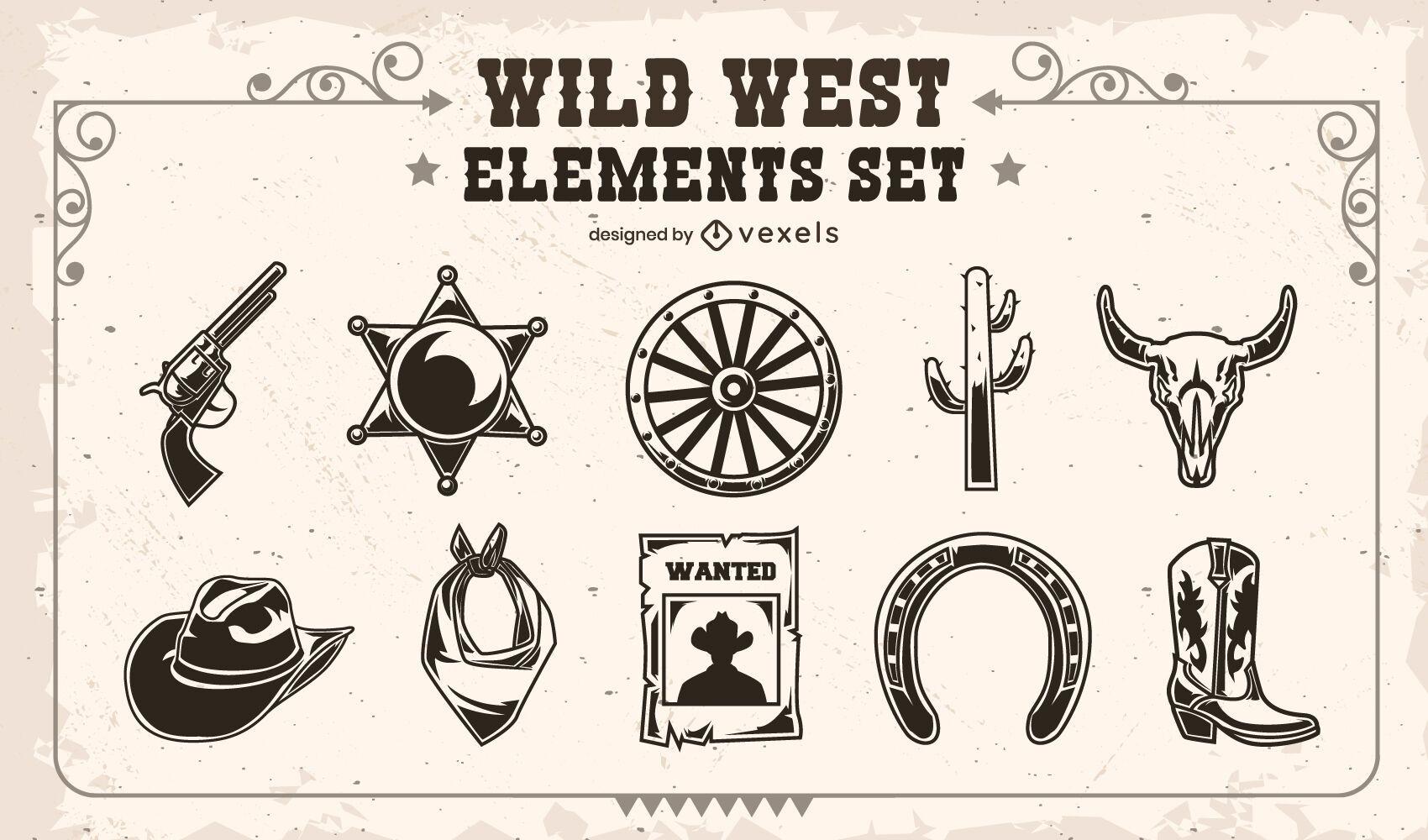 Conjunto de elementos do Velho Oeste