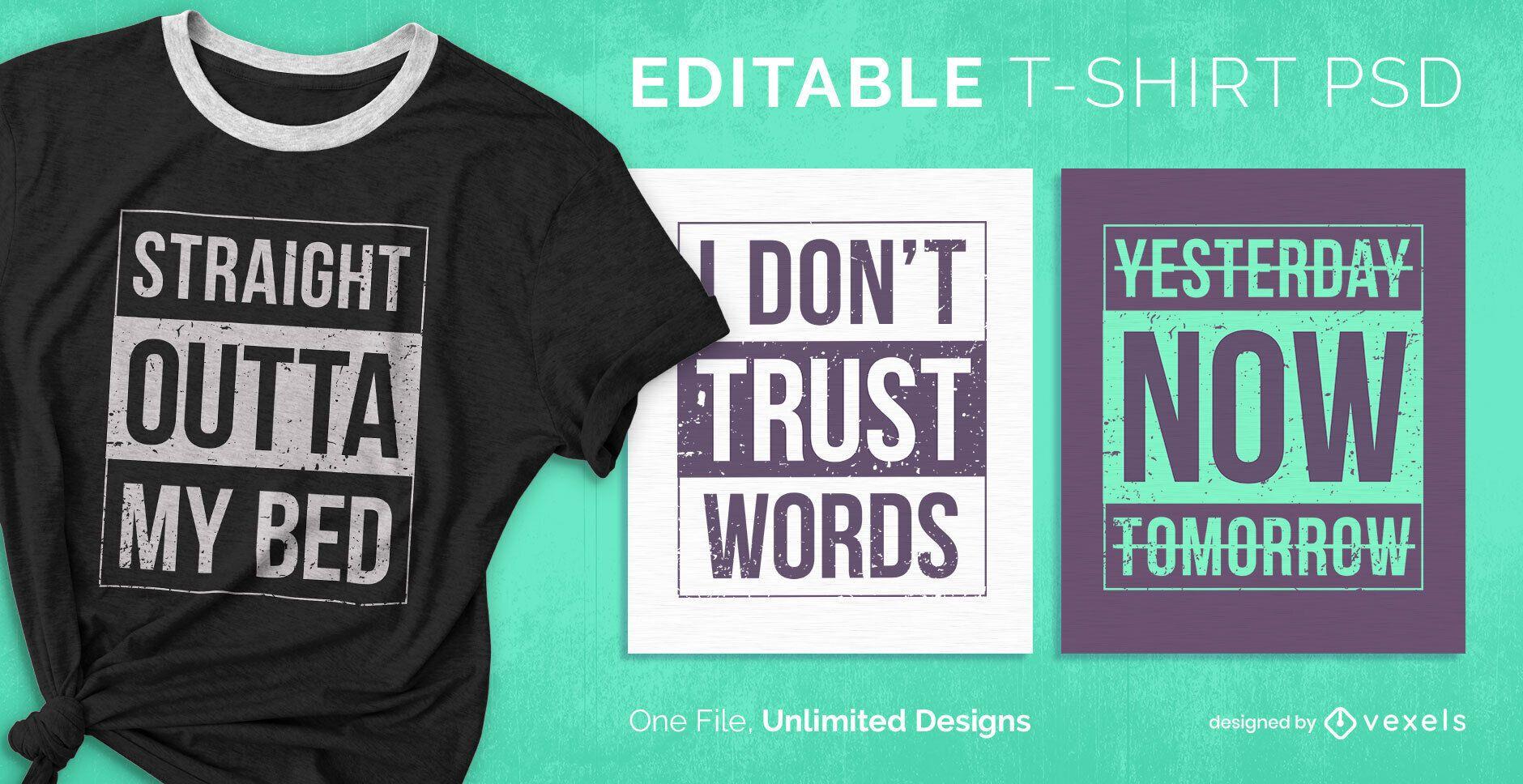 T-shirt escalonável informativo psd