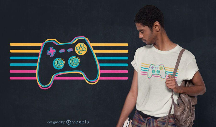 Design de camiseta com joystick retrô