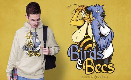 Vogel und Bienen T-Shirt Design