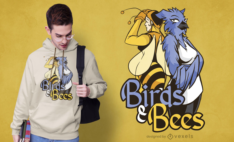Diseño de camiseta de pájaros y abejas.