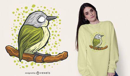 Pássaro em pé no desenho da camiseta do galho