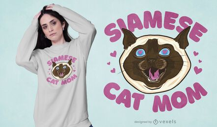 Diseño de camiseta de mamá gato siamés