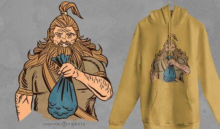 Diseño de camiseta de monedas vikingas.