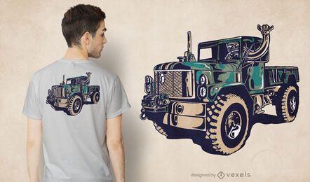 Diseño de camiseta de camión militar.