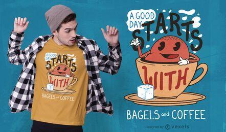 Diseño de camiseta de bagels y café.