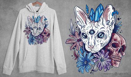 Diseño de camiseta de gato místico