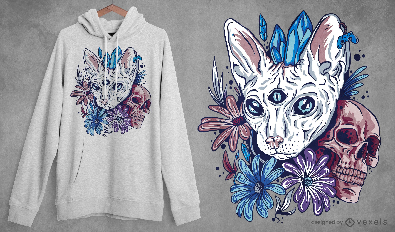 Design de t-shirt de gato místico