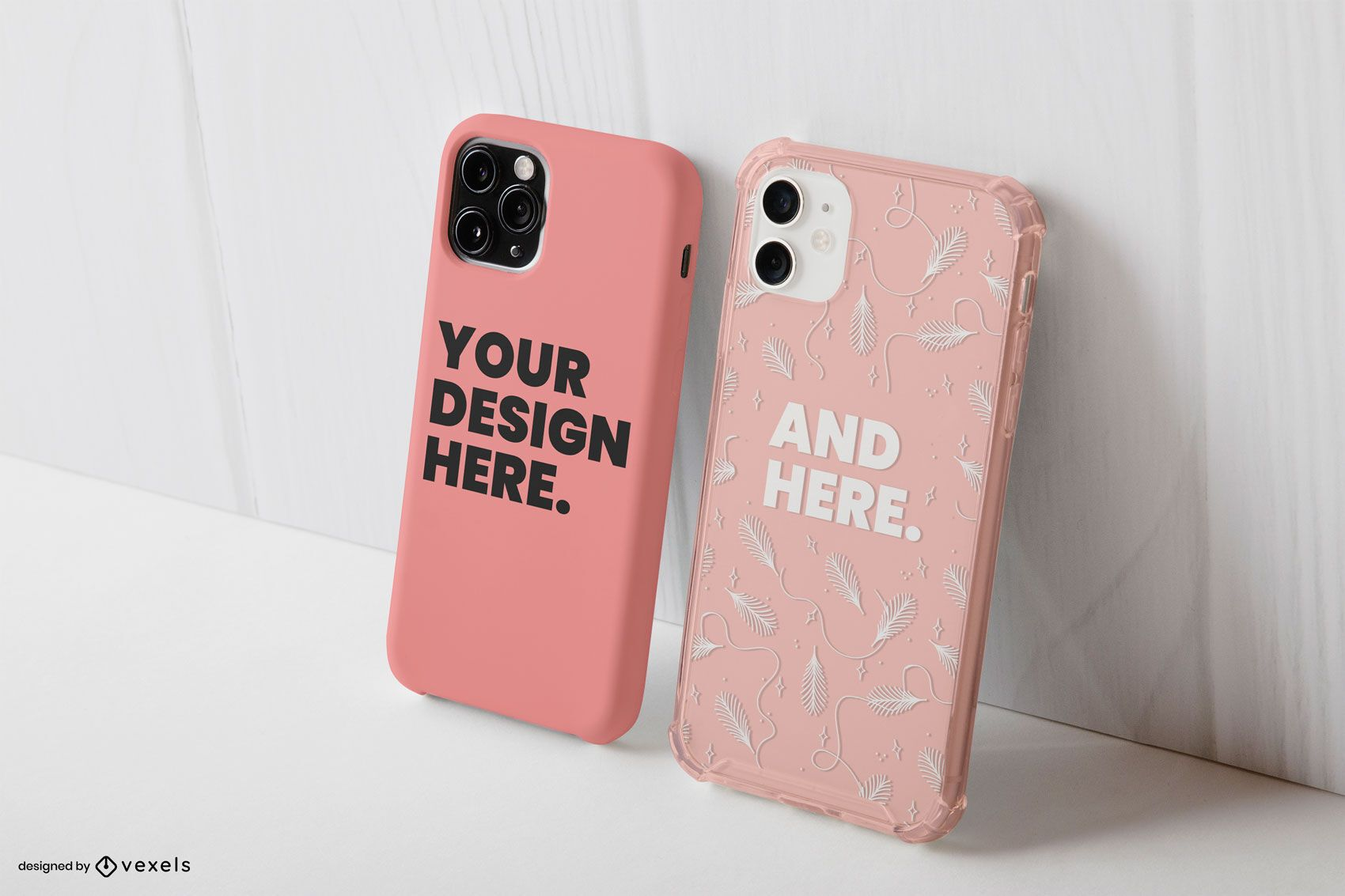 Two phone cases mockup composition