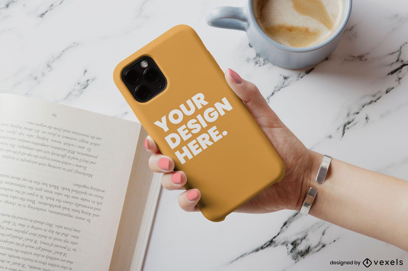 Maquete de café da capa do telefone