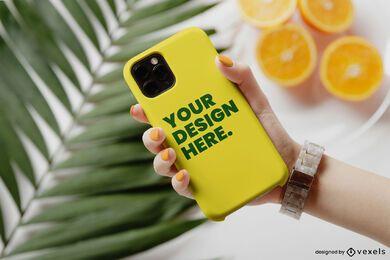 Phone case orange palm mockup