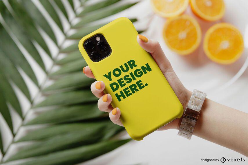 Capa de telefone com maquete laranja