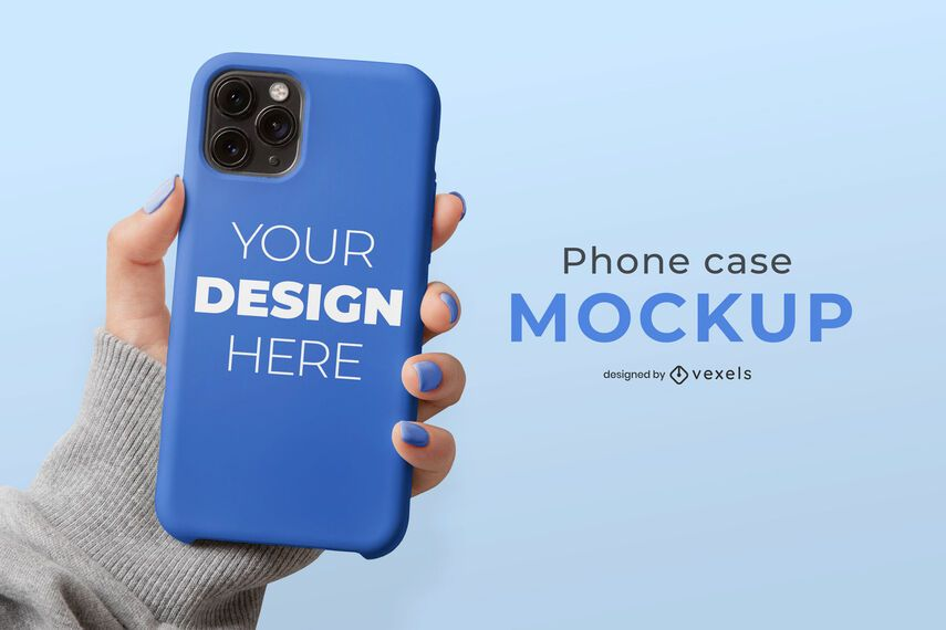 Phone case hand mockup composition
