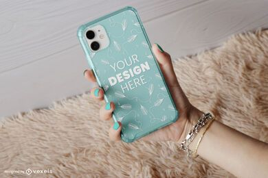 Phone case rug mockup composition