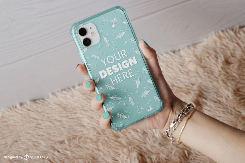Phone case rug mockup composition