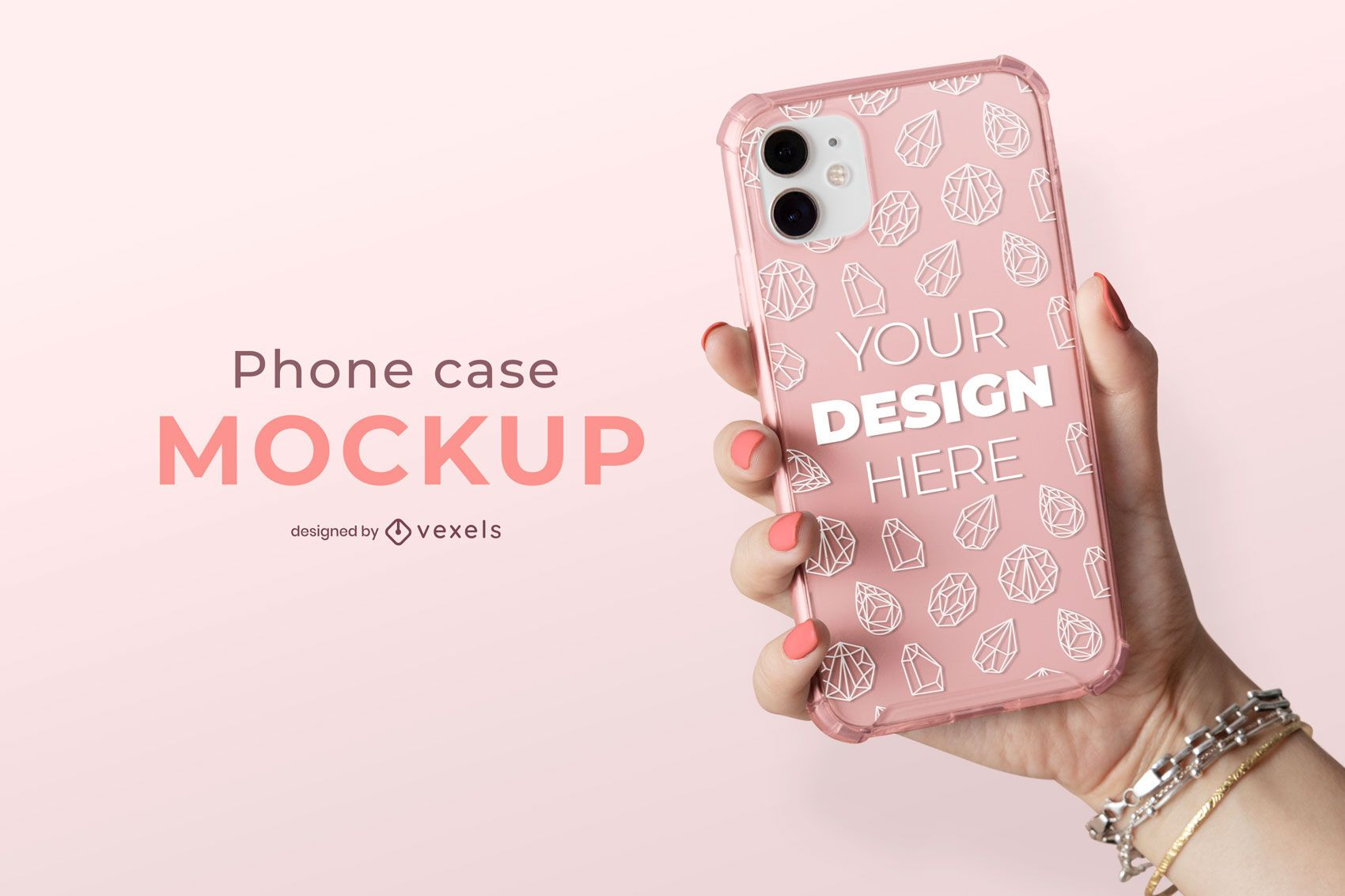 Clear phone case mockup composition