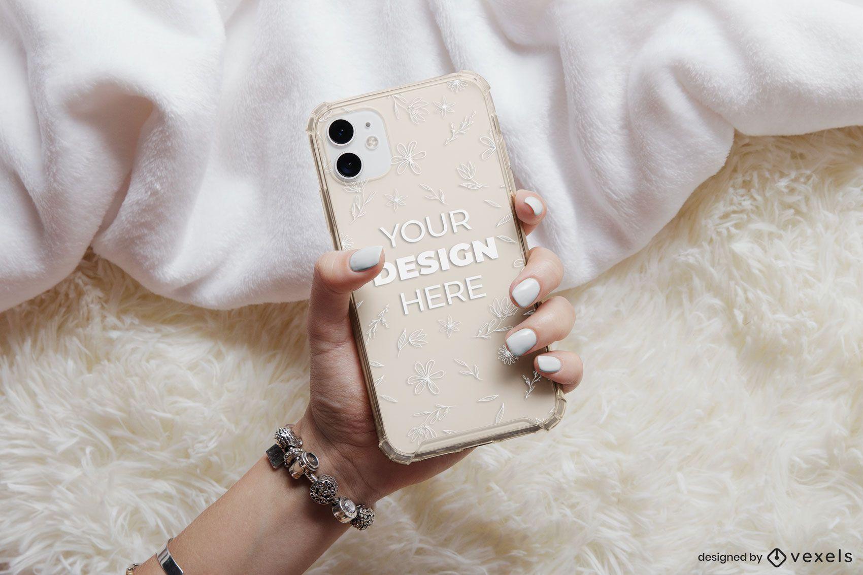 Phone case bed mockup composition