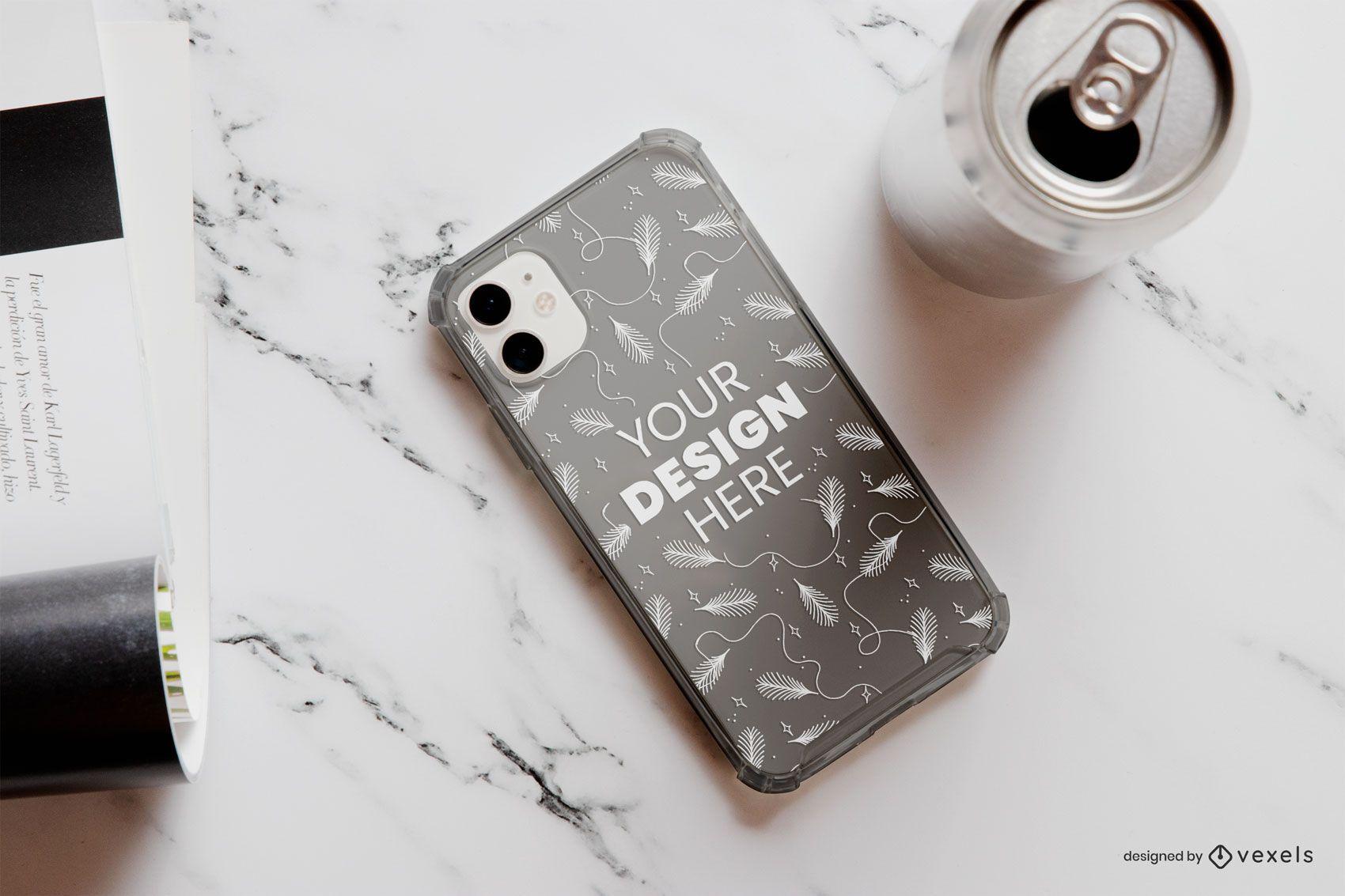Phone case soda can mockup