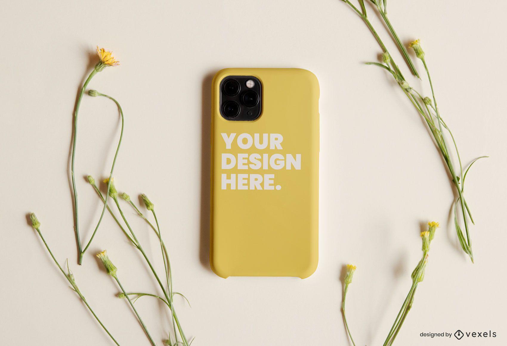 Phone case flowers mockup