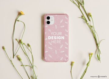 Phone case flowers mockup composition