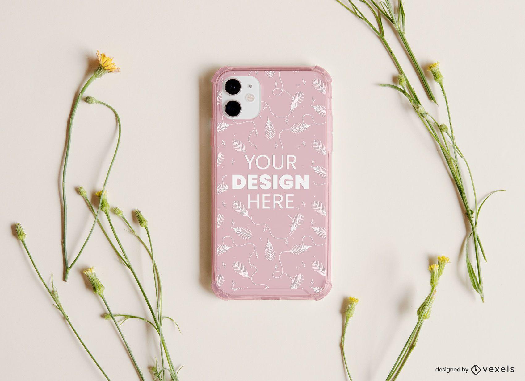 Phone case flowers mockup composition
