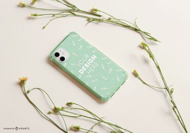 Phone case yellow flowers mockup