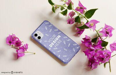 Maquete floral da capa do telefone