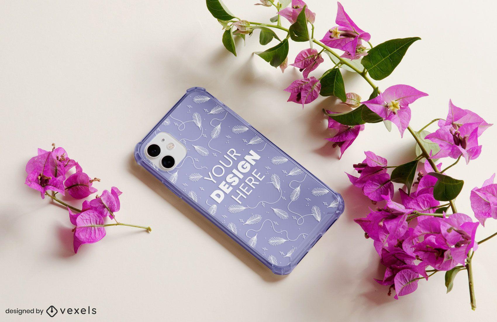 Phone case floral mockup