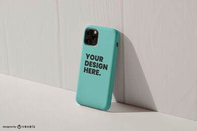 Maquete de parede inclinada para capa de telefone