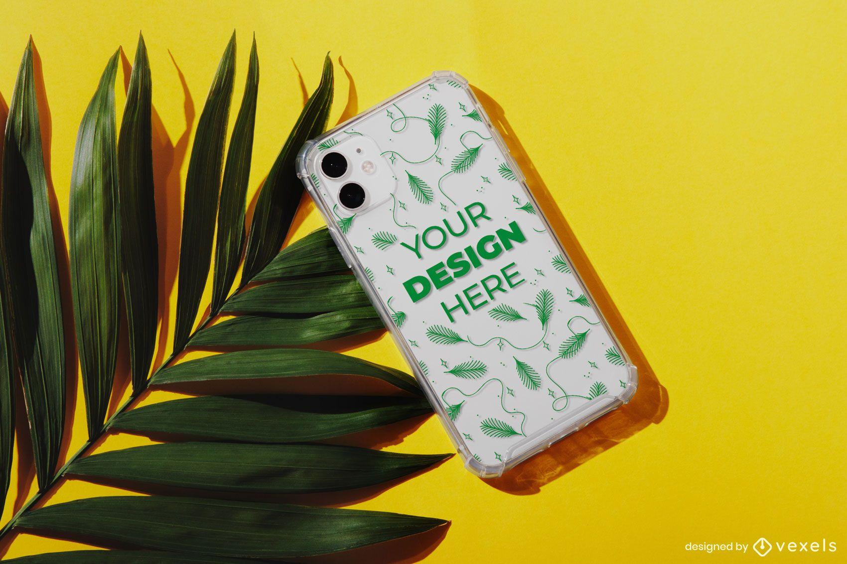 Phone case palm mockup