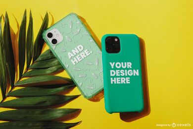 Capas de telefone maquete em folha de palmeira