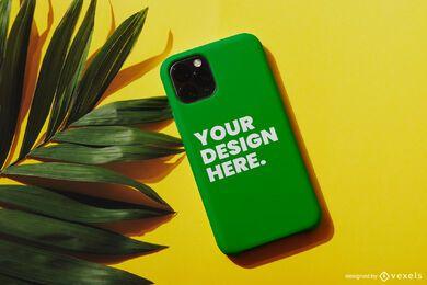 Composição da maquete da palma da capa do telefone