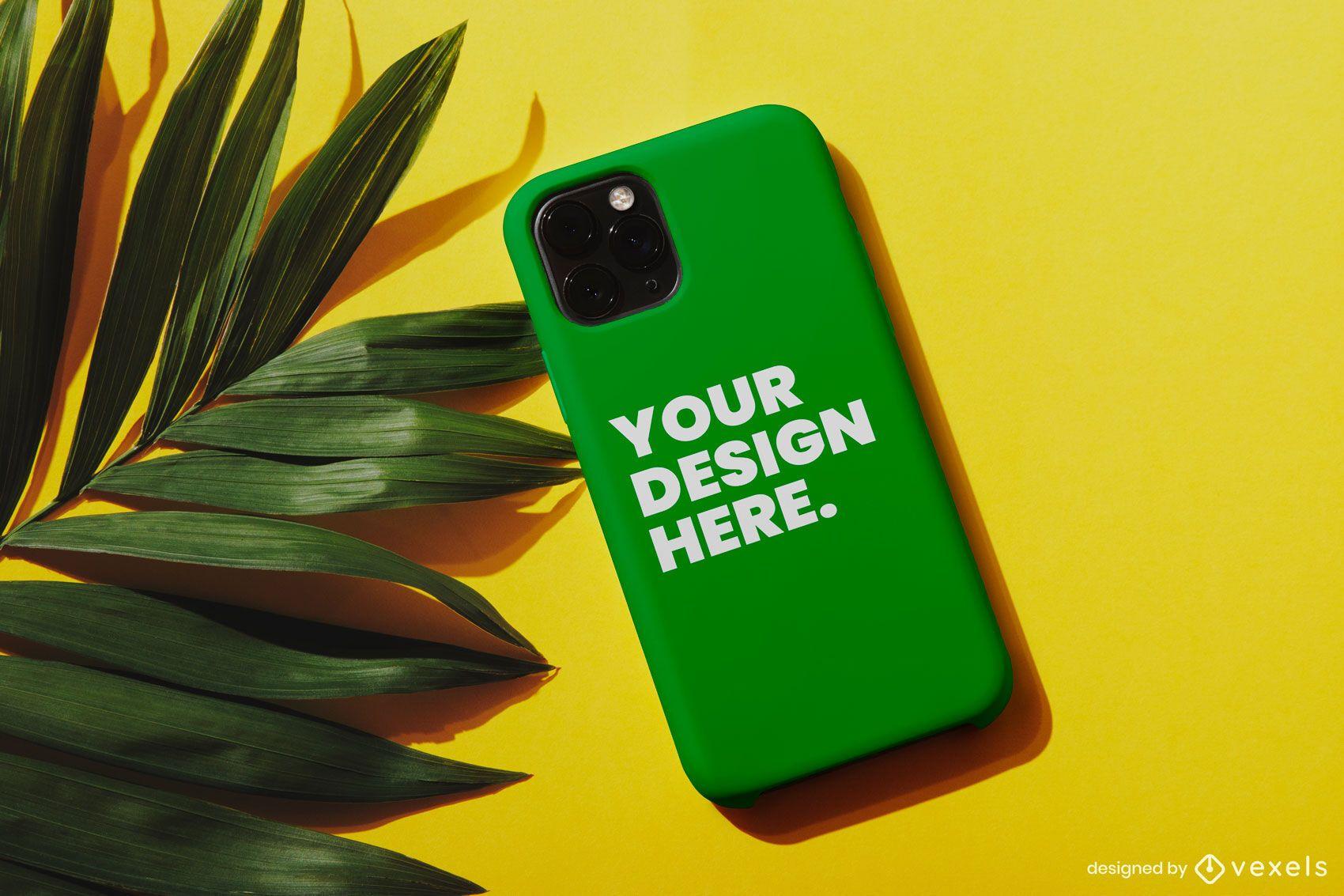 Phone case palm mockup composition