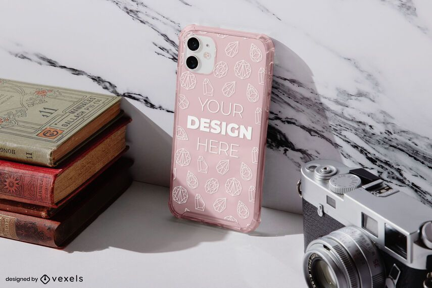 Phone case marble mockup composition