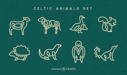 Conjunto de trazos de animales celtas