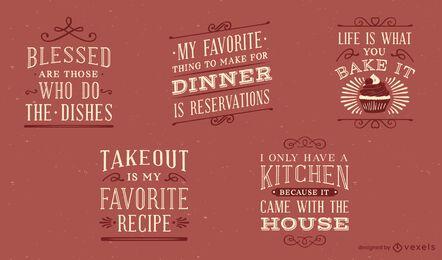 Conjunto de letras de cozinha vintage