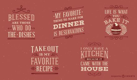 Vintage kitchen lettering set