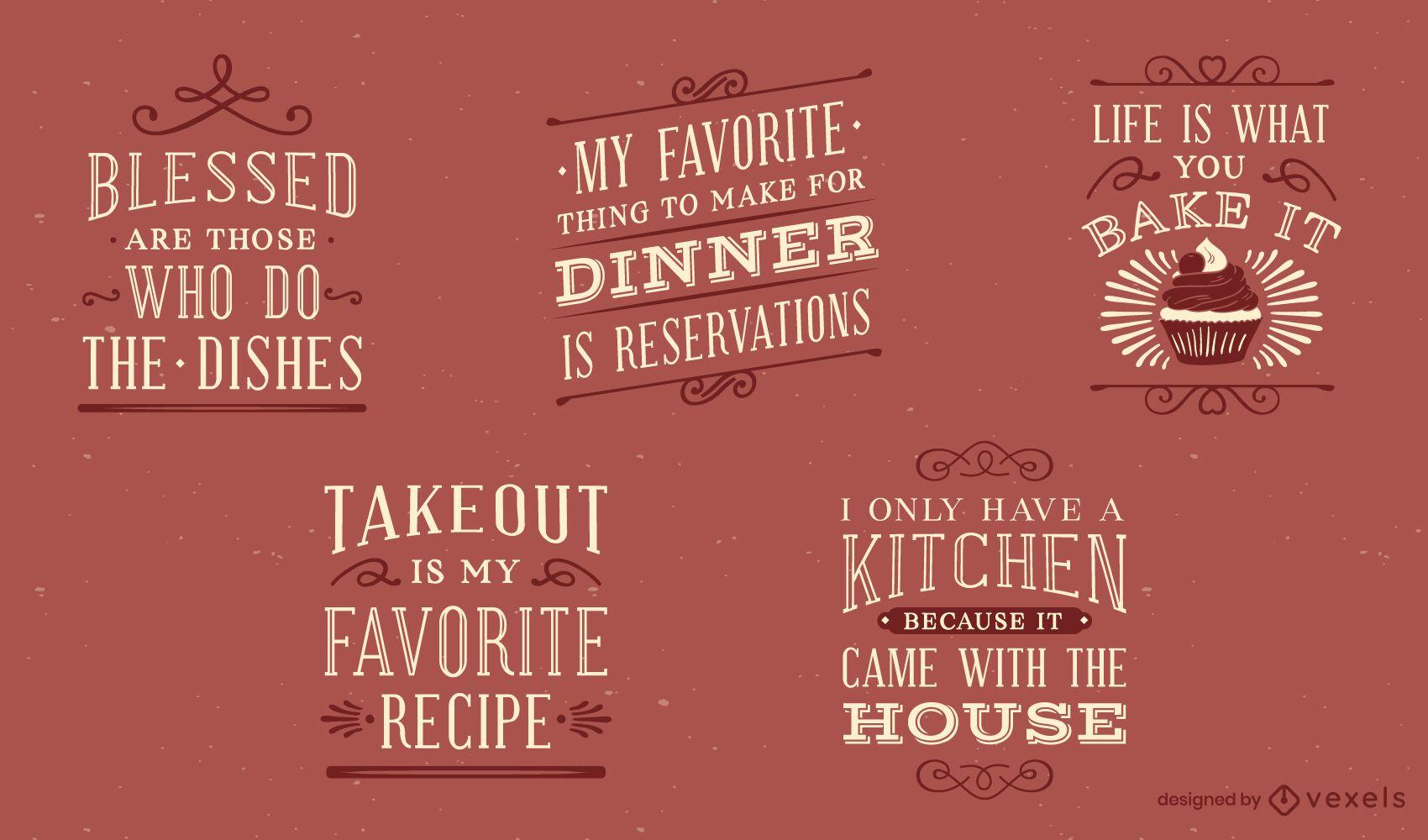 Conjunto de letras de cocina vintage