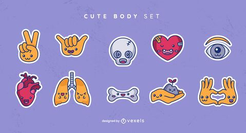 Cute body sticker set