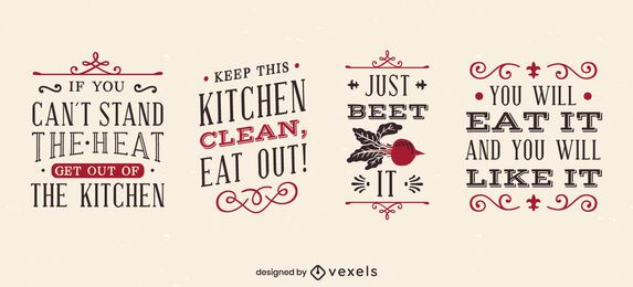 Conjunto de letras engraçadas de cozinha vintage