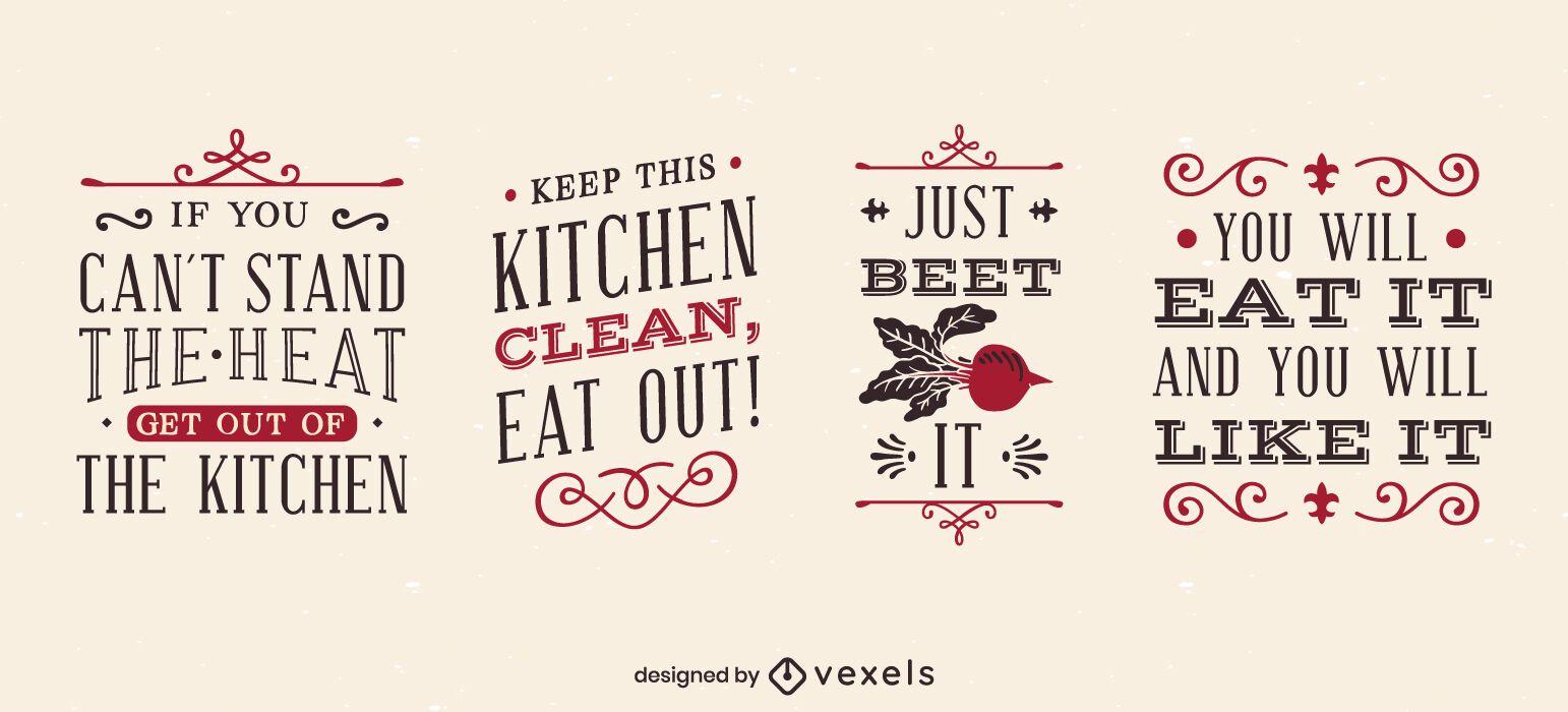 Juego de letras divertidas de cocina vintage