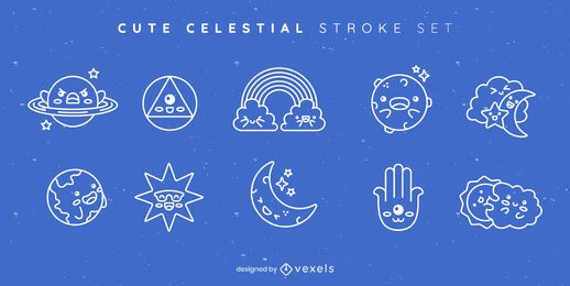 Cute celestial stroke set