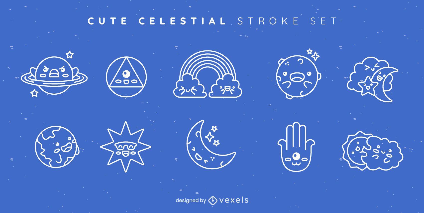 Cute celestial stroke set