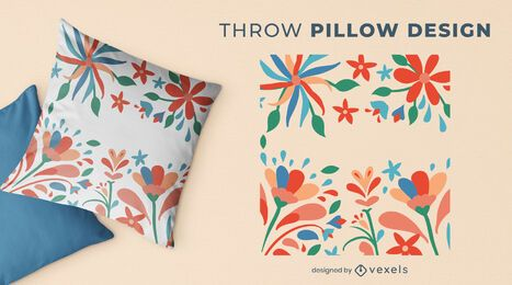 Otomi flowers throw pillow design