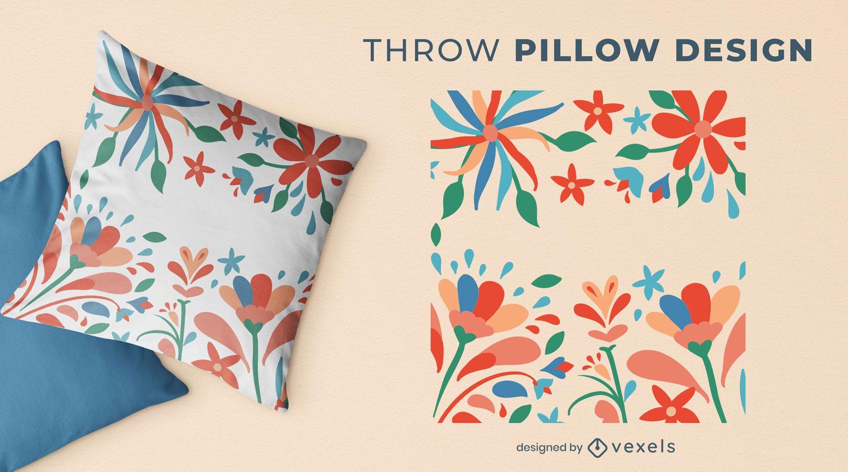 Diseño de almohada de tiro con flores otomíes
