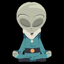 Personaje de meditación alienígena